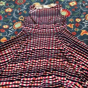 Donna Morgan Pink White & Purple Check Dress Sz 8